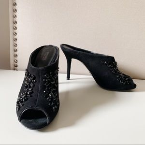 Michael Kors 8 Black Edie Mules Beaded Peep Toe